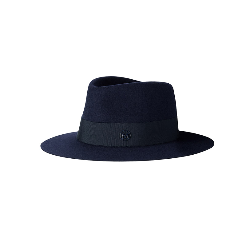 Navy felt trilby hat, waterproof