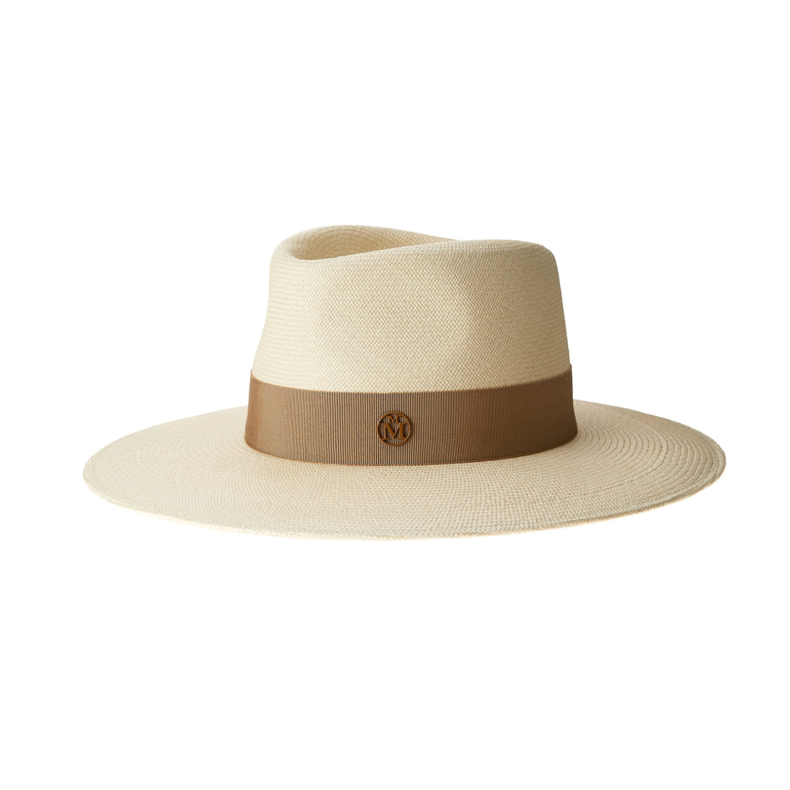 Panama straw fedora hat with beige grosgrain ribbon