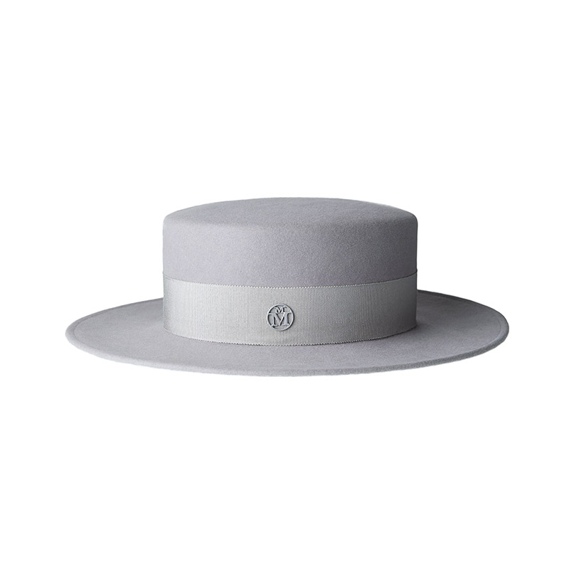 Pearl grey felt canotier hat, waterproof