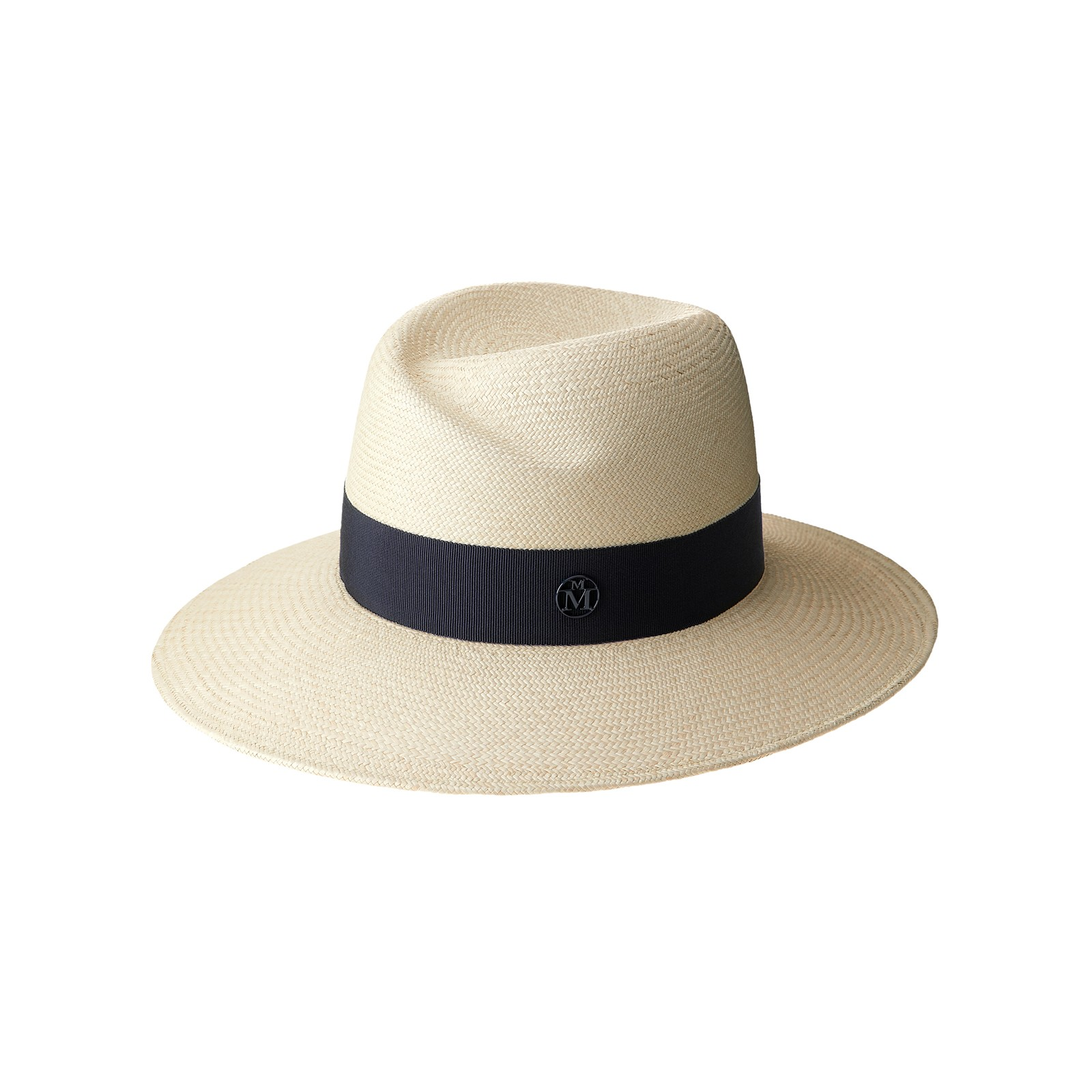 Panama straw fedora hat with navy grosgrain ribbon