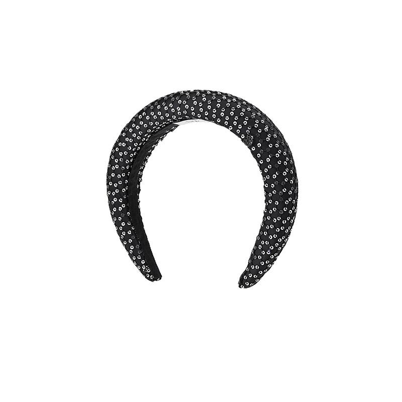 Serre-tête noir en tissu et paillettes argentées