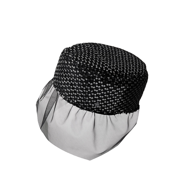Black fabric pillbox with silver sequins